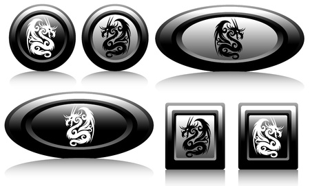 web button with dragons black and white Vector