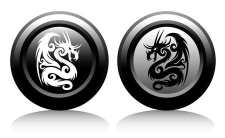 web icons with dragons Stock Vector - 18826256