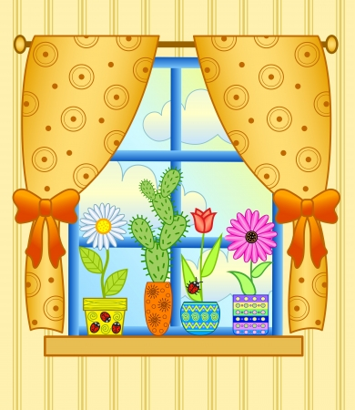 curtain design: finestra con vasi di fiori Vettoriali