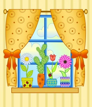 cortinas: Ventana con macetas de flores