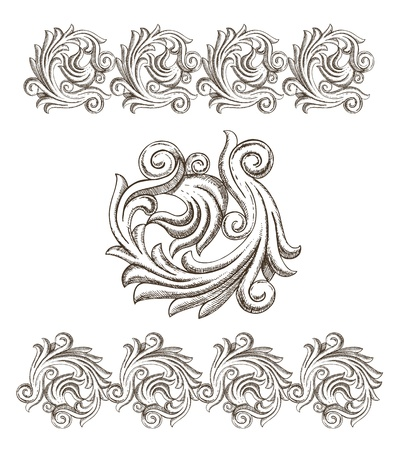 Baroque elements drawn by hand Stock Vector - 18826866