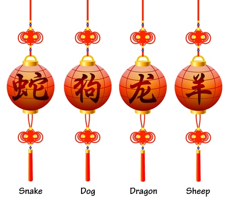 chinese new year snake: Chinese symbols on the lantern  Signs of the Zodiac  Dog, dragon, snake, sheep  Illustration