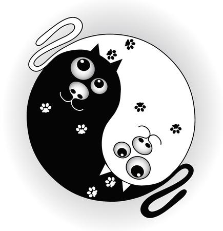 yin y yan: símbolo ying yang con los gatos