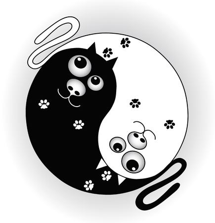ying yan: symbol ying yang with cats Illustration