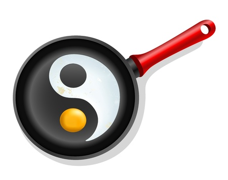 meditation isolated white: fried egg in a frying pan with symbol ying-yang