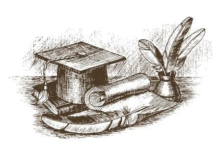 ink pot: Casquillo de la graduaci�n, tintero con plumas y un empate de desplazamiento a mano Vectores