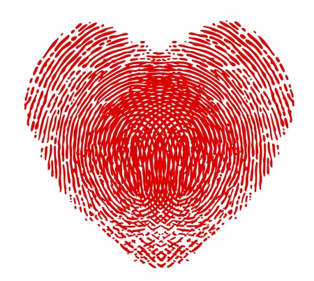 Fingerprint in the form of heart Vector