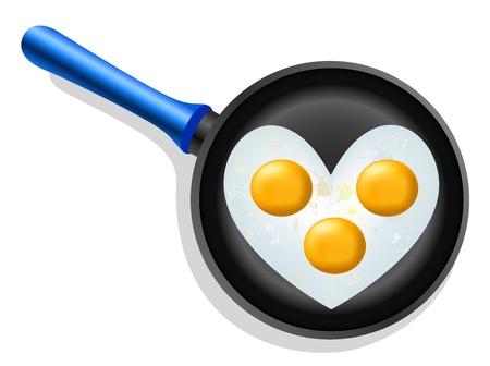 pareja comiendo: huevos revueltos en una forma de corazón en una sartén Vectores