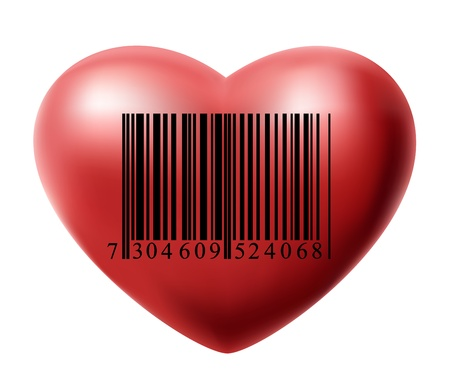 Heart with bar code Vector