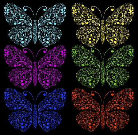 butterflies on a black background Stock Vector - 18826789