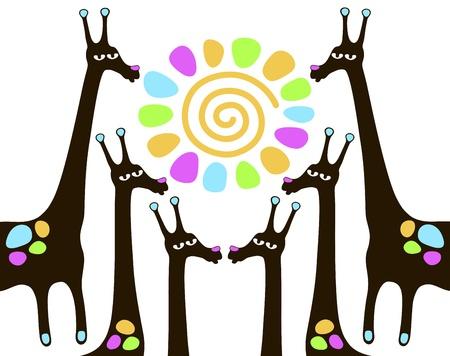 savagery: giraffes with sun