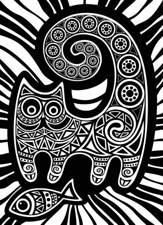 gato dibujo: gato con pescado