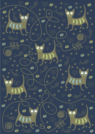 cats on a blue background Vector