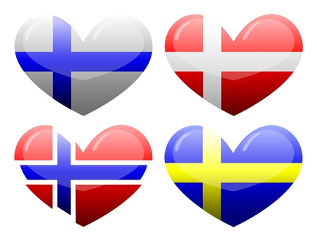 Flags of Scandinavia in the form of heart Vector
