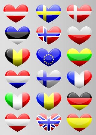 romania flag: european flags heart Illustration