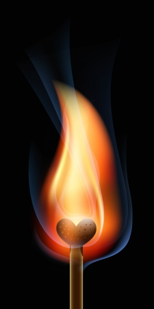 burnt wood: Burning match in the form of heart