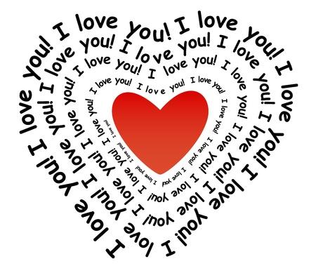 te amo: Te amo en la forma de coraz�n Vectores