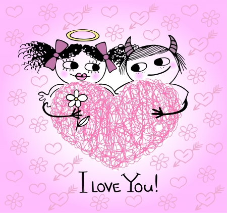 funn: Valentines card with hearts and couple in love Illustration