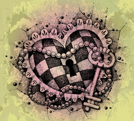 Heart with key drawn by hand Stock Vector - 18826716