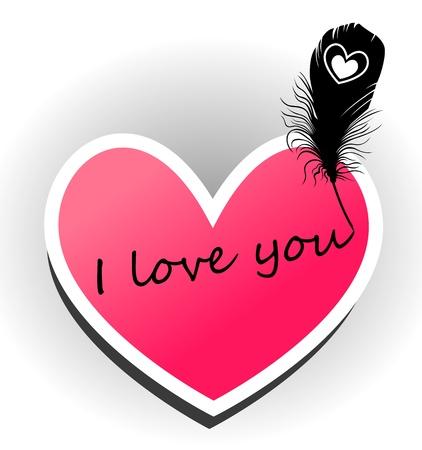 I love you  The inscription on the heart Stock Vector - 18826216