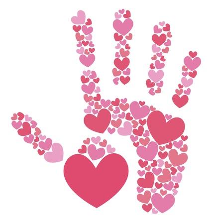 Handprint of hearts Stock Vector - 18826795
