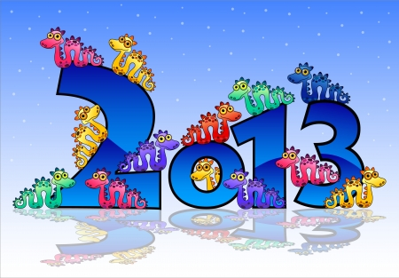 Happy New Year 2013card with snakes Stock Vector - 18826923