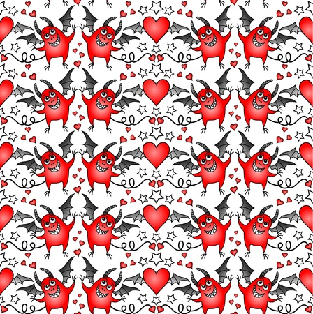 spiteful: seamless background with cheerful devils and hearts Illustration