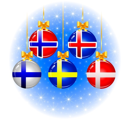 funn: Christmas balls with flags of the Scandinavian Illustration