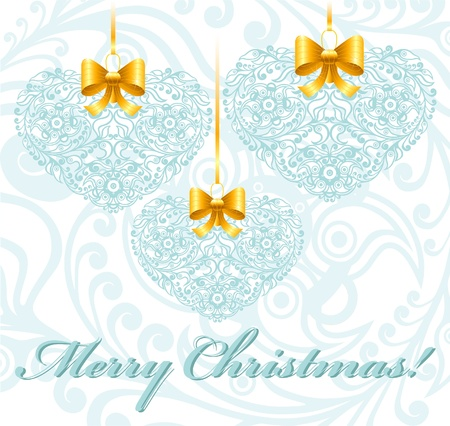 Christmas card with patterned hearts Stock Vector - 18826606
