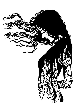 nude female: silhouette of a girl with flowing hair