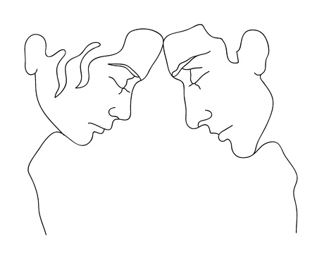 male hair model: silhouettes of man and woman