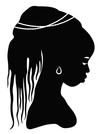 dark face: black silhouette African woman