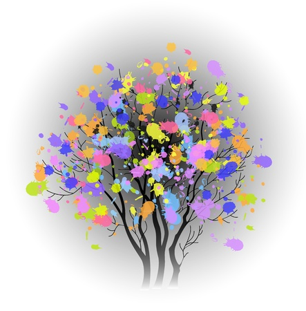 tree with colorful spots Stock Vector - 18826889