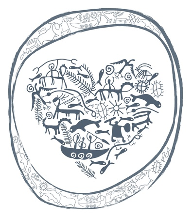 shamanic heart in ornamental circle Vector