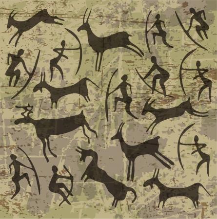 Edad de Piedra: fondo con petroglifos Vectores
