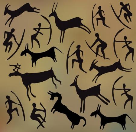ilustraciones africanas: fondo con petroglifos Vectores