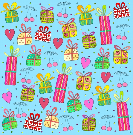 gifts on a blue background Stock Vector - 18826617