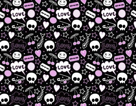 black skull: seamless teenager background Illustration