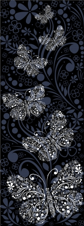 ornamental background with butterflies Stock Vector - 18826904