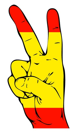victory sign: Peace Sign of the Spanish flag
