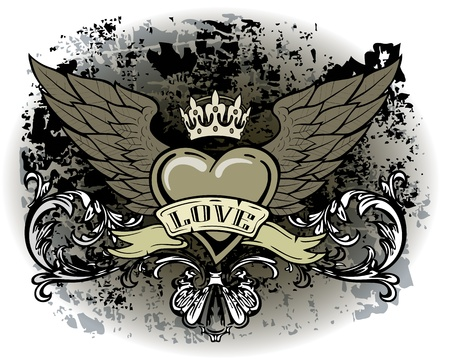 tattoo design: Heart with wings