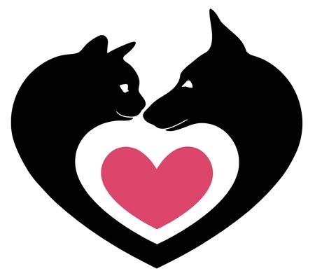 socializando: gato y perro en el coraz?n