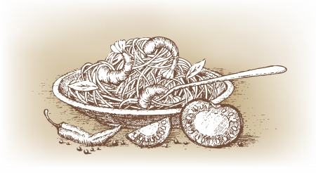 Italian pasta with tomato drawn by hand Vector