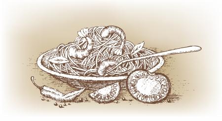 italian pasta: Pasta italiana con tomate dibujado a mano Vectores