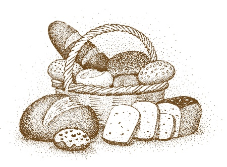 white bread: Bakery products drawn by hand
