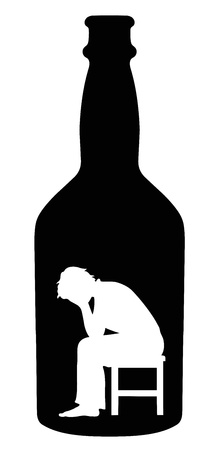 abusive man: alcoholism Illustration