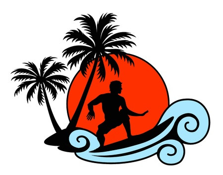 surfer silhouette: Surfer on a wave with palms and sunset Illustration