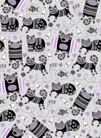 cute funny cats seamless background Vector