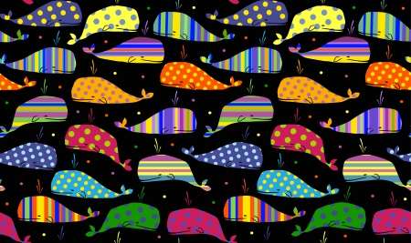 whales seamless background Vector