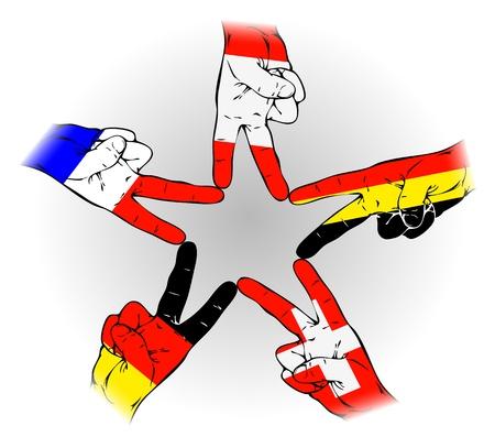 alpes suizos: Signo de la paz de los alemanes, holandeses, belgas, suizos, banderas austr�acas Vectores